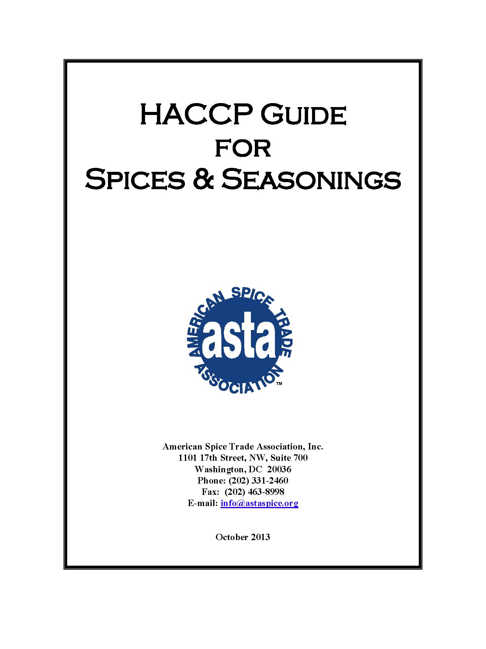 Haccp guide to spices and seasonings asta the voice of - Haccp definition cuisine ...
