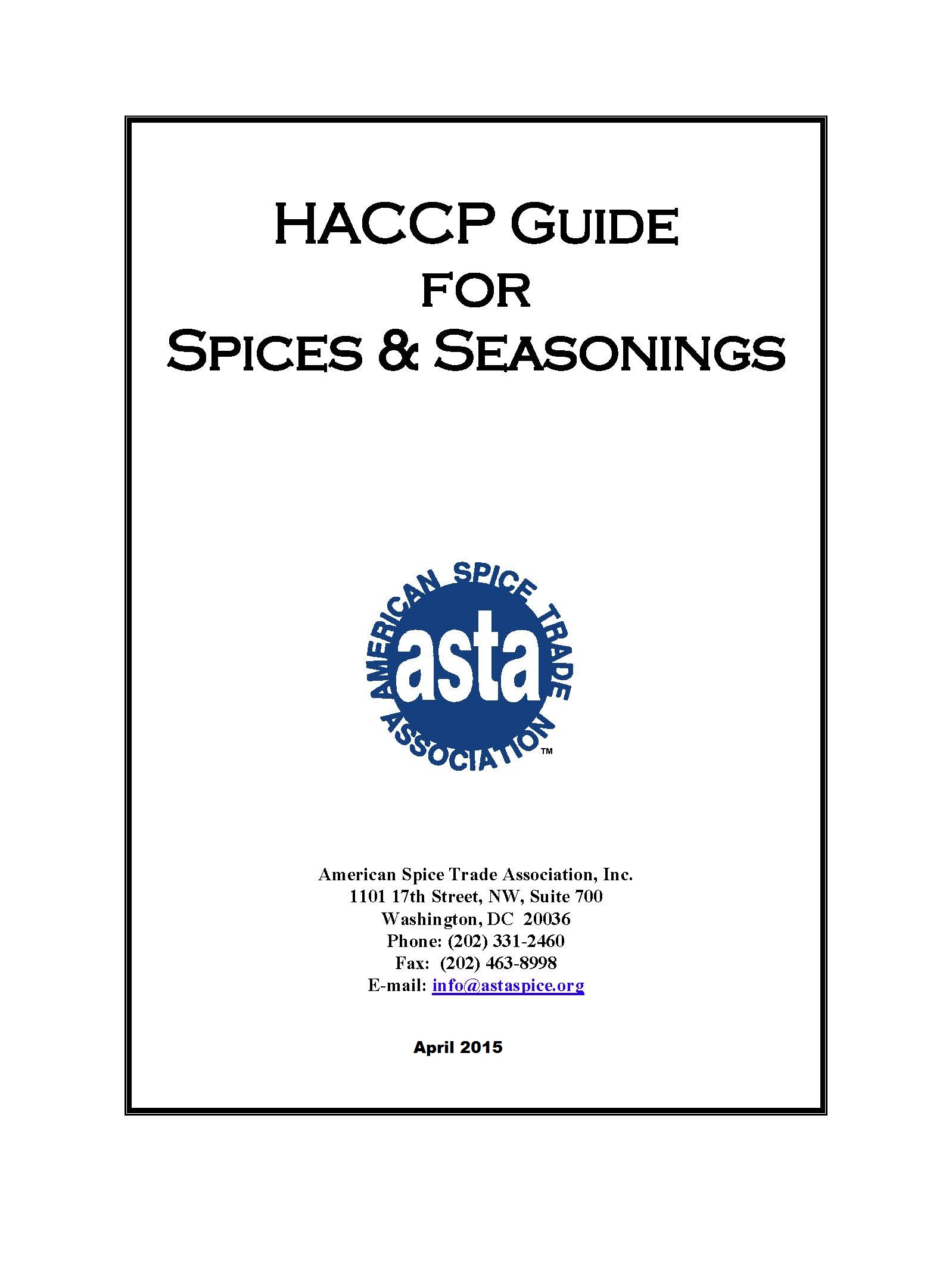 Haccp guide to spices and seasonings asta the voice of the us 00 haccp cover and index pagespage1 altavistaventures Gallery