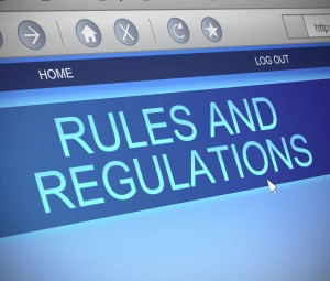 Illustration depicting a computer screen capture with a rules and regulations concept.