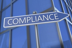 Compliance - illustration with street sign in front of office building.